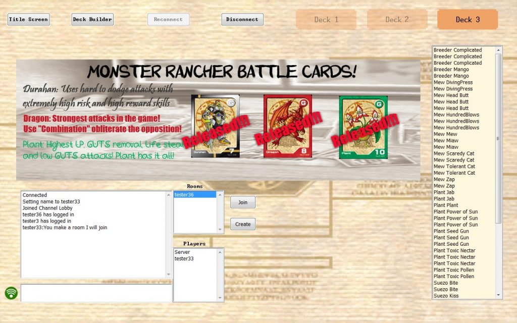 Monster Rancher Battle Cards Online Lobby