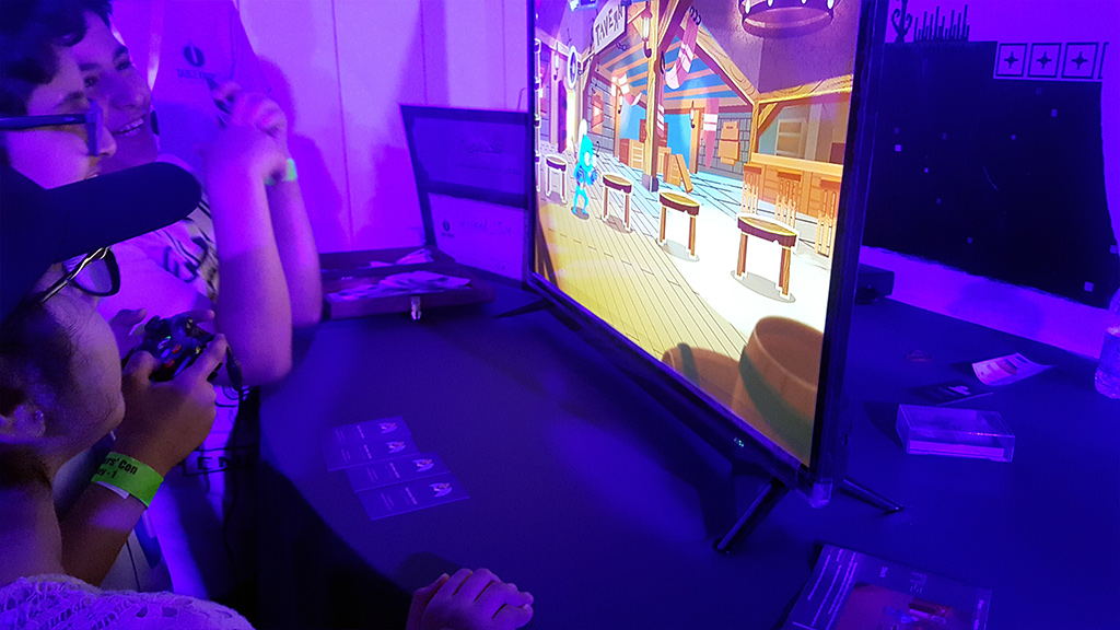 Young ones enjoying our game Flipper Knight at Gamers Con 2018