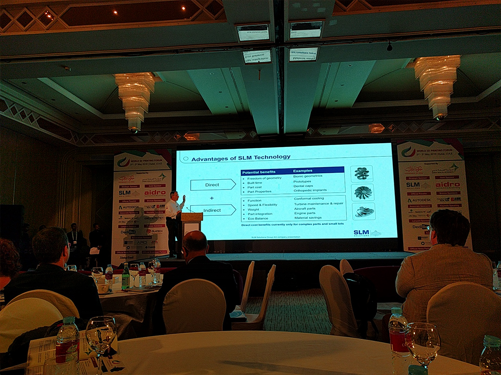 At World 3D Printing Forum in Dubai 2018 During the Talk of SLM Solutions