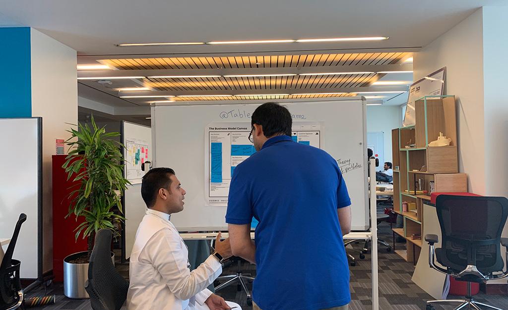 Getting guidance in TAQADAM accelerator program from our mentor Abdulrahman Aljiffry